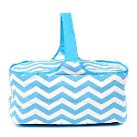 Insulated Blue Chevron Picnic Tote Bag