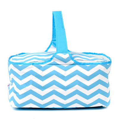 Insulated Blue Chevron Picnic Tote Bag