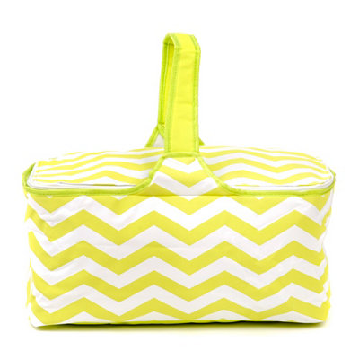 Insulated Green Chevron Picnic Tote Bag