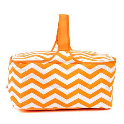 Insulated Orange Chevron Picnic Tote Bag