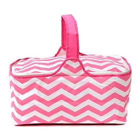 Insulated Pink Chevron Picnic Tote Bag