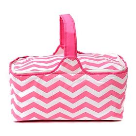 Insulated Pink Chevron Picnic Tote Bag