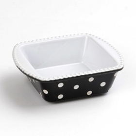 Black & White Dots Square Baking Dish, 30 oz.
