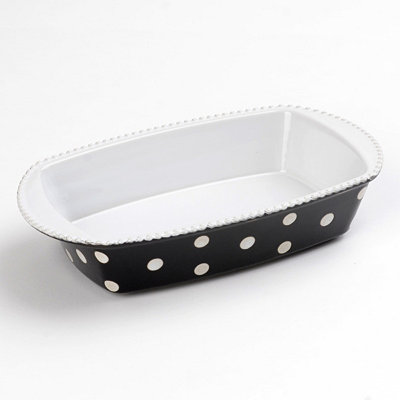 Black & White Dots Rectangle Baking Dish, 1 qt.