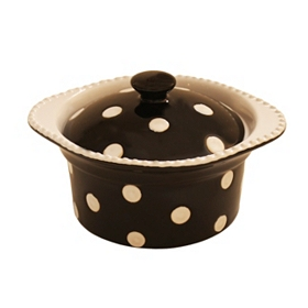 Black & White Dots Mini Covered Casserole Dish