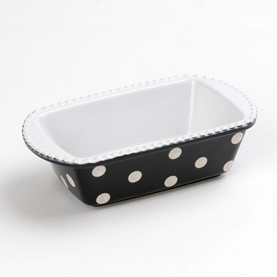 Black & White Dots Mini Loaf Pan, 8x5 in.