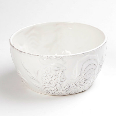 Antique White Embossed Rooster Bowl