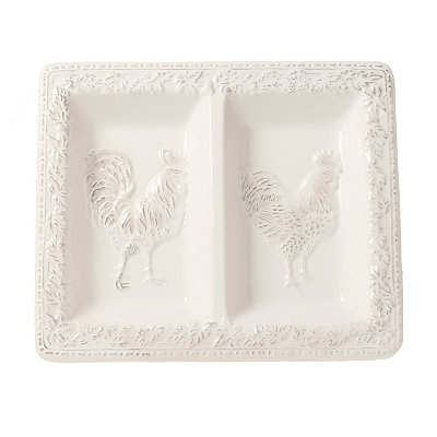 Antique White Embossed Rooster Divided Dish