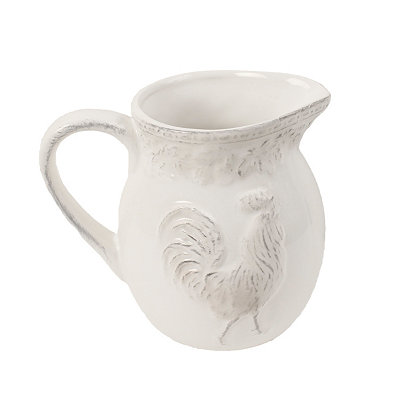 Antique White Embossed Rooster Pitcher