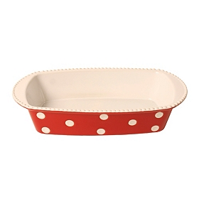 Red & White Dots Baking Dish, 2 qts.