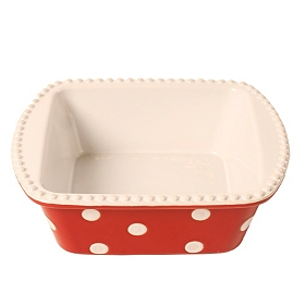 Red & White Dots Square Baking Dish, 2 qts.