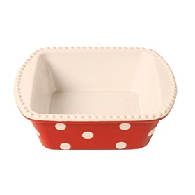 Red & White Dots Square Baking Dish, 30 oz.