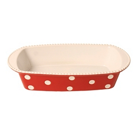 Red & White Dots Rectangle Baking Dish, 1 qt.