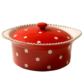 Red & White Dots Covered Casserole Dish