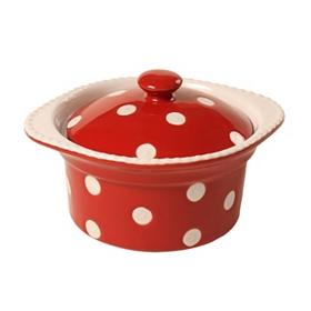 Red & White Dots Mini Covered Casserole Dish