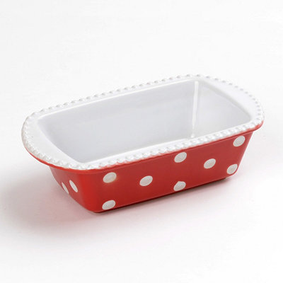 Red & White Dots Mini Loaf Pan, 8x5 in.