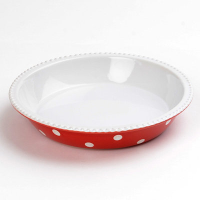 Red & White Dots Pie Plate, 10 in.