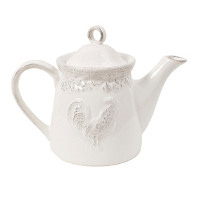 Antique White Embossed Rooster Teapot