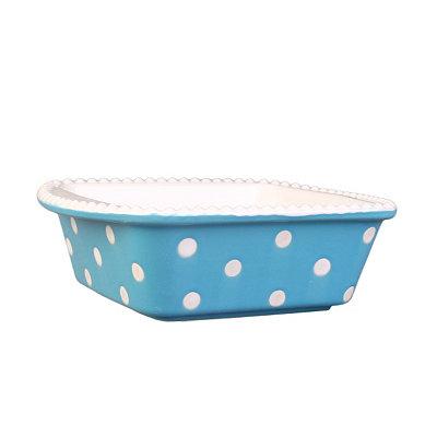 Blue & White Dots Square Baking Dish, 30 oz.