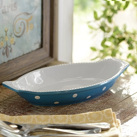 Blue & White Dots Gratin Dish, 24 oz.