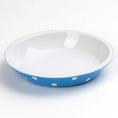 Blue & White Dots Pie Plate, 10 in.