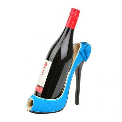 Blue High Heel Wine Holder