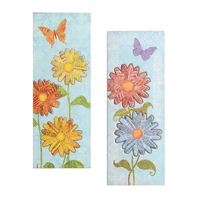 Blue Paper Mache Daisy Plaque