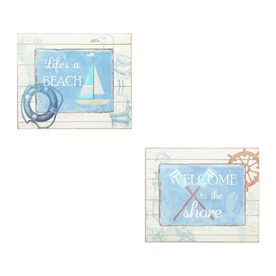 Blue and White Beach House Plaque