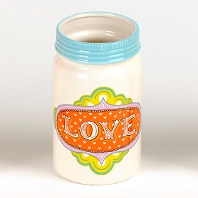 Love Ceramic Mason Jar Vase