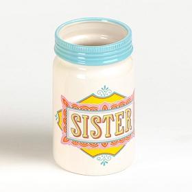 Sister Ceramic Mason Jar Vase
