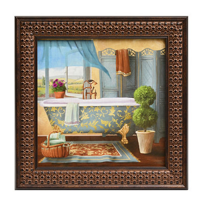 Seaside Resort Bath I Framed Art Print