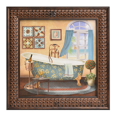 Seaside Resort Bath II Framed Art Print