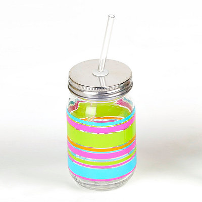 Neon Stripes Mason Jar Sipper