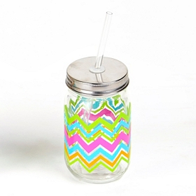 Neon Chevron Mason Jar Sipper
