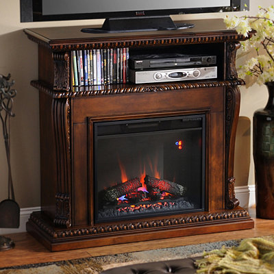 Corinth Walnut Fireplace Entertainment Center