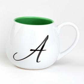 Green & White Monogram A Ceramic Mug