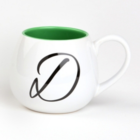 Green & White Monogram D Ceramic Mug