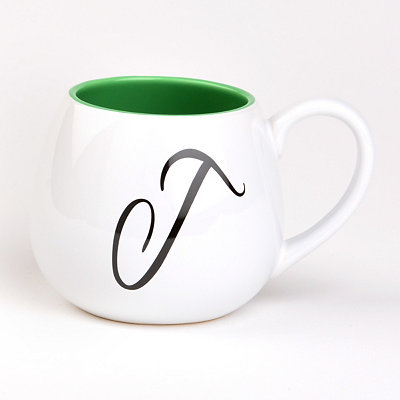 Green & White Monogram J Ceramic Mug