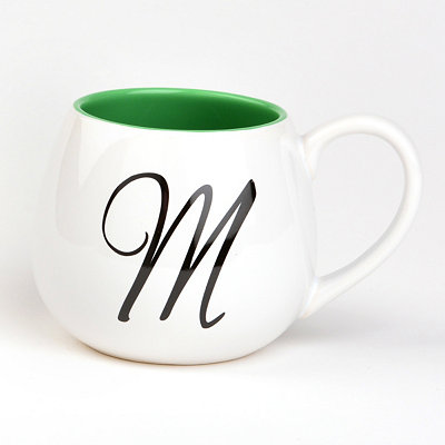 Green & White Monogram M Ceramic Mug
