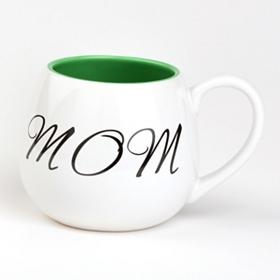 Green & White Mom Ceramic Mug
