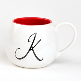 Red & White Monogram K Ceramic Mug