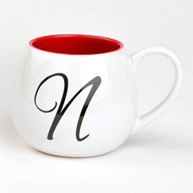 Red & White Monogram N Ceramic Mug