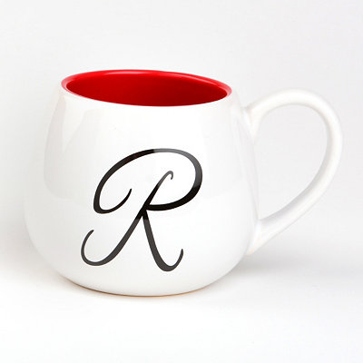 Red & White Monogram R Ceramic Mug