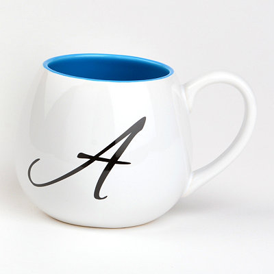 Blue & White Monogram A Ceramic Mug