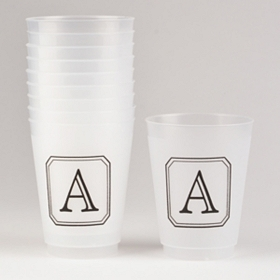 Black Stacked Monogram A Cups