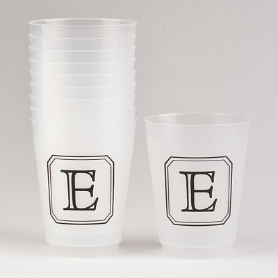 Black Stacked Monogram E Cups
