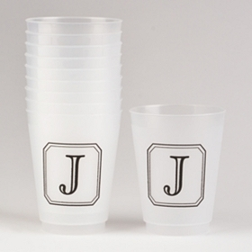 Black Stacked Monogram J Cups
