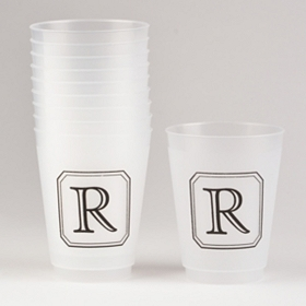 Black Stacked Monogram R Cups