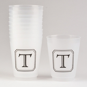 Black Stacked Monogram T Cups