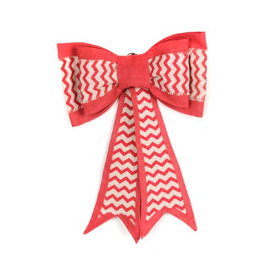 Pink Chevron Burlap Door Bow